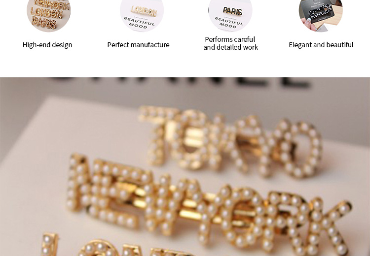 Hot Sale Girl Pearl Custom Large Metal Spring Woman Fashion Word Hair Clip
