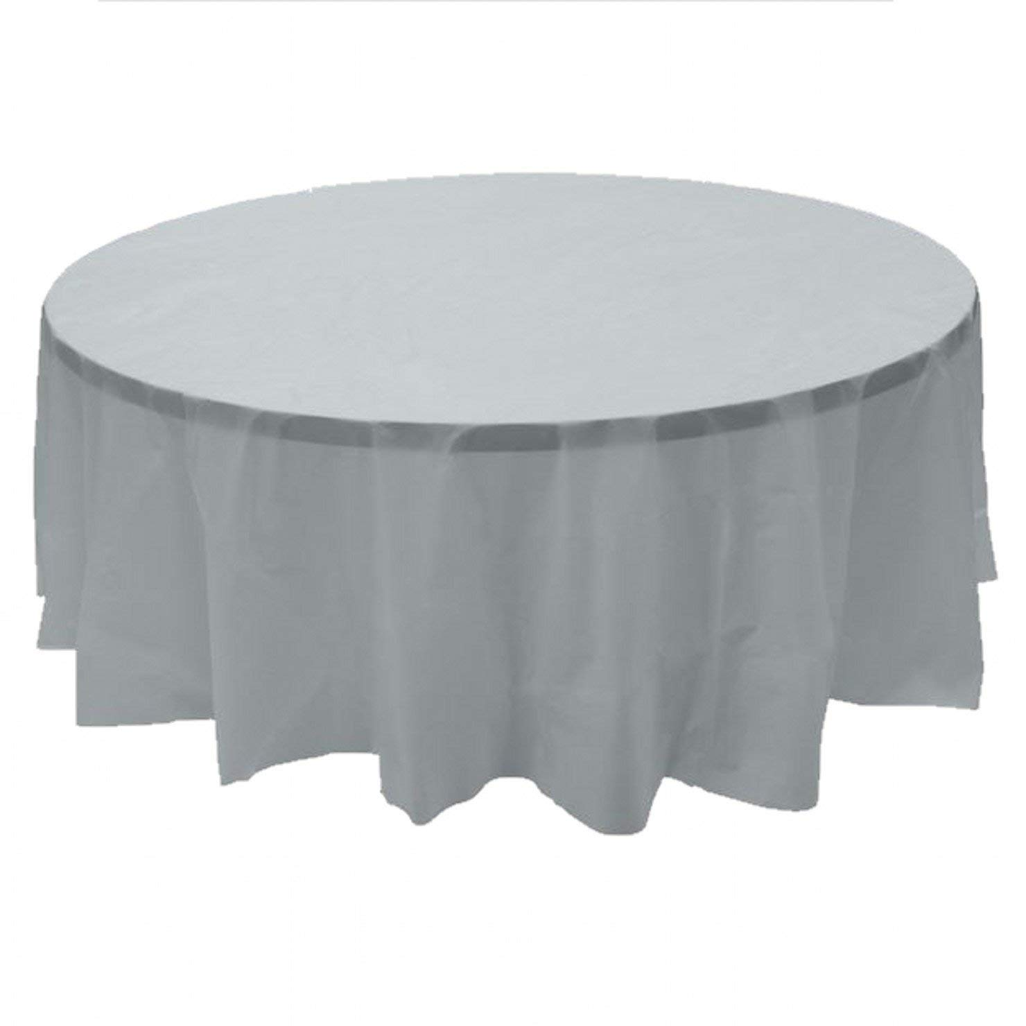 """7 PACK, 84"""" Silver Round Plastic Table Cover, Economy Table Cloth Reusable"""