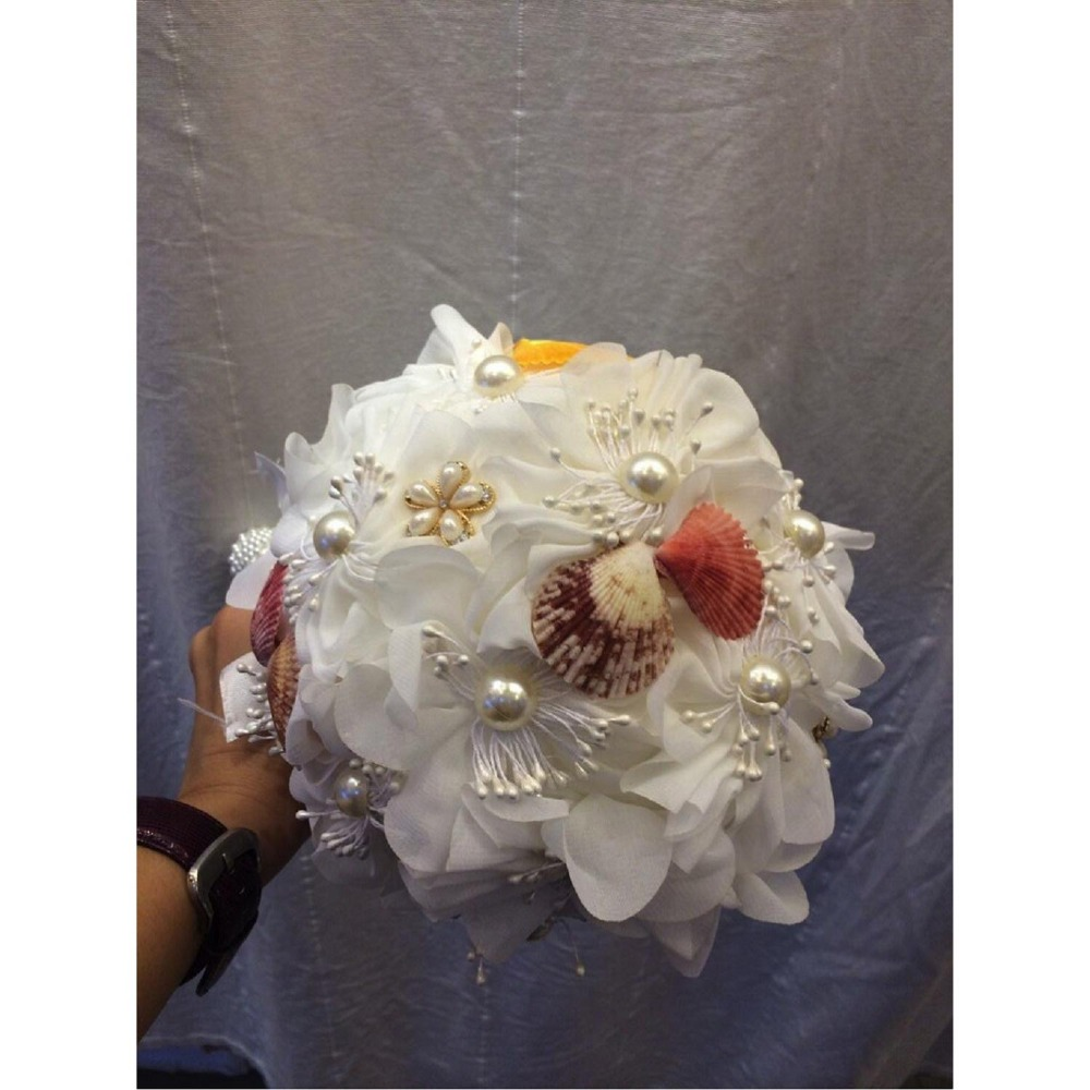 Romantic bridal flower bouquet, pearl and shell decoration artificail plastic wedding bouquet