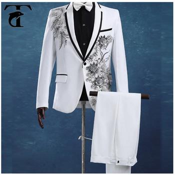 2017 New Design Hand Work Mens Wedding Suit Groom Tuxedo Suits For Men