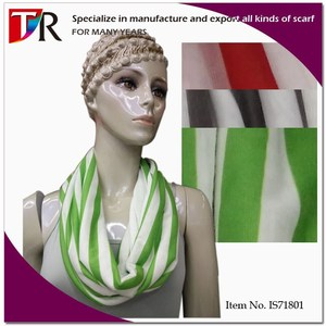 Fashion Advertising Idea Knit Circle 2 Tone Color Vertical Stripe Scarf Style