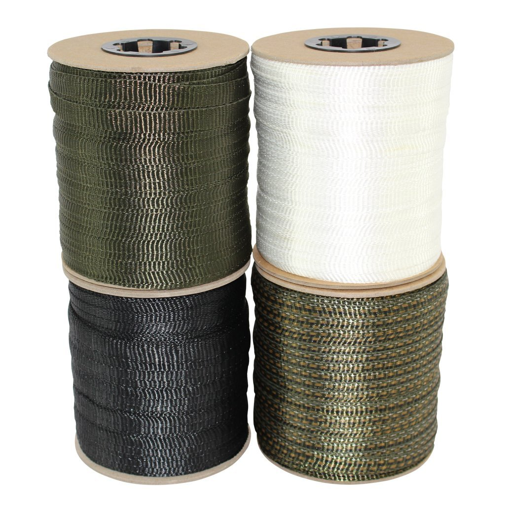 Polyester Webbing (5/8 inch) - SGT KNOTS - Flat Rope - Durable Polyester Pull Tape Strap - Moisture, UV, Rot, Oil Resistant - Utility, Arborist, Gardening, Marine, Commercial (100 ft - Olive Green)
