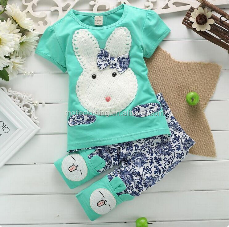 floral pants and cute tee baby girls short sleeve summer fall clothing outfits casual kids comfortable clothing sets, bunny t-sh