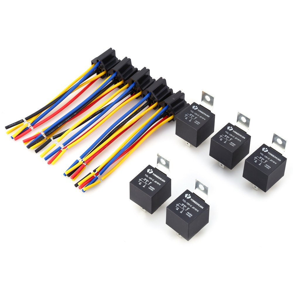 Buy Car Auto Truck Caremic Socket Spst 4 Pin 5 Wire Cable Jd1912 How To A Spdt Relay X Dc 12v 40a 40 Amp Relays
