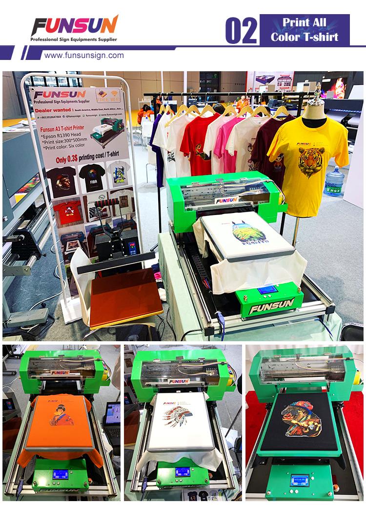 Factory price 1440dpi uv tshirt a3 DTG printer 3d digital inkjet printing all color digital print tshirt