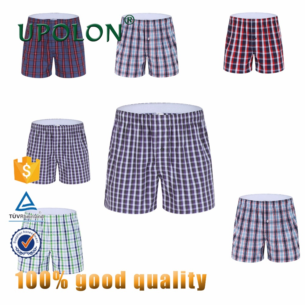 Upolon Manufacturer Cheapest Price100% Cotton Shorts Boxer For Plaid Mens Underwear Sexy