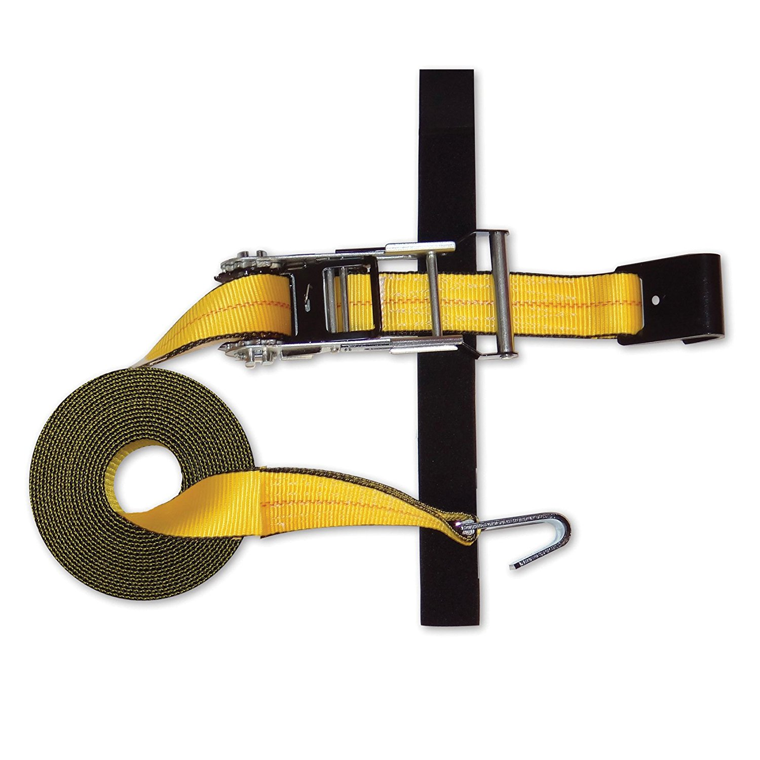 "Snap-Loc Cargo Control SLTHF227RYI Flat-Hook Strap, 2"" x 27' Expandable Ratchet with Hook and Loop Storage Fastener, 3333 gal Capacity, 324"" Length, 2"" Width, Yellow"