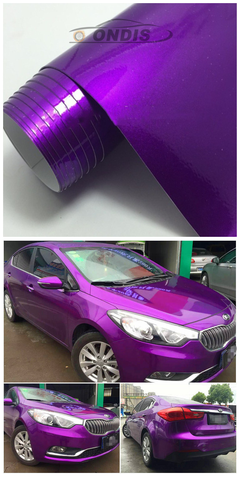 Decoration Pearl Blue Gloss Chrome Metallic Color Change Vinyl Film Car Wrap with Bubble Free
