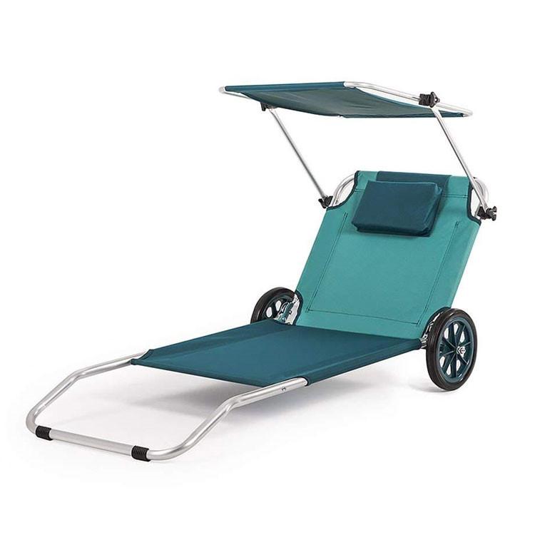Strandstoel Met Wielen.Aluminium Opblaasbaar Opvouwbaar Nylonweefsel Voor Opvouwbare Strandstoel Met Wielen