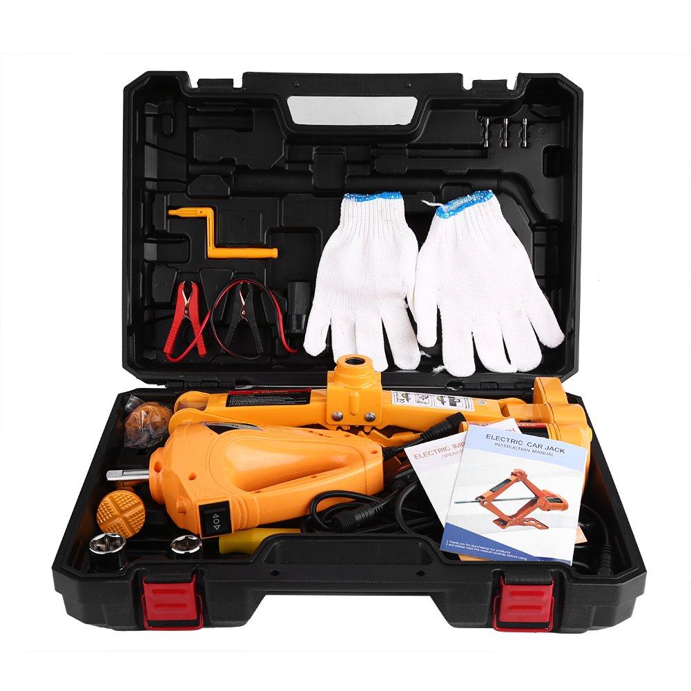 Electric Car Jack,3 Ton 12V DC Automotive Electric Jack Lifting Car SUV Emergency Equipment w/ Impact Wrench Car Repair Tool
