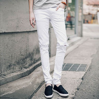 Casual Skinny fancyJeans Black ripped White Pencil Jeans Ripped wholesale cheap Knee Hole For Youth Men