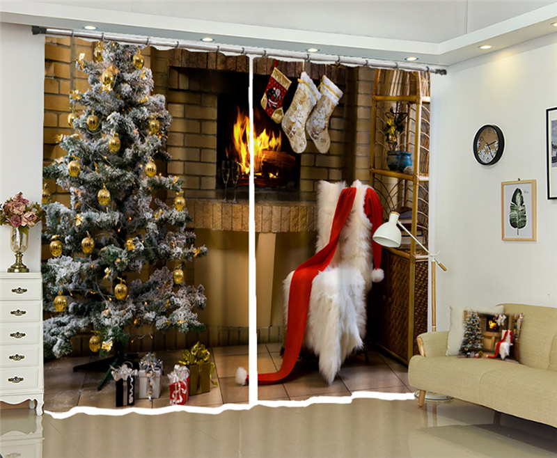 Curtains Ahloyalty Christmas Style 3d Window Curtain Living Room High-precision Shade Luxury Curtains Rideaux Customized Size Home & Garden