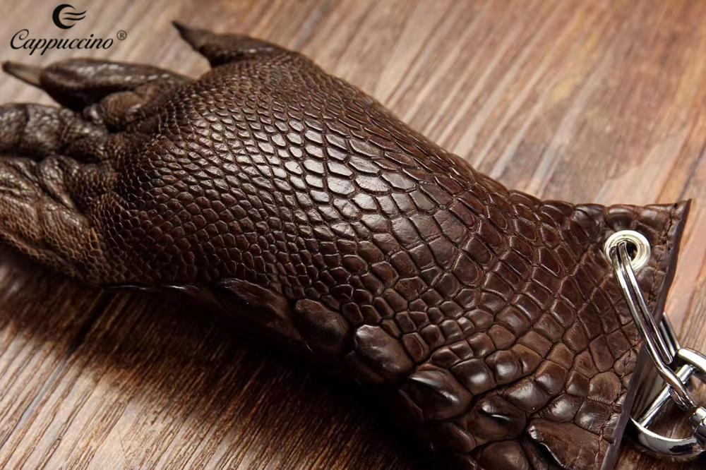 Authentic M 100% Crocodile Skin Foot Claw Key Ring Leather Dark Brown Coin purse wallet