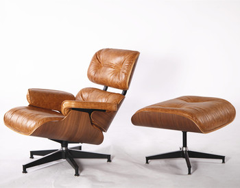 European Ancient Leather Emes Lounge Chair With Ottoman Mid Century Style