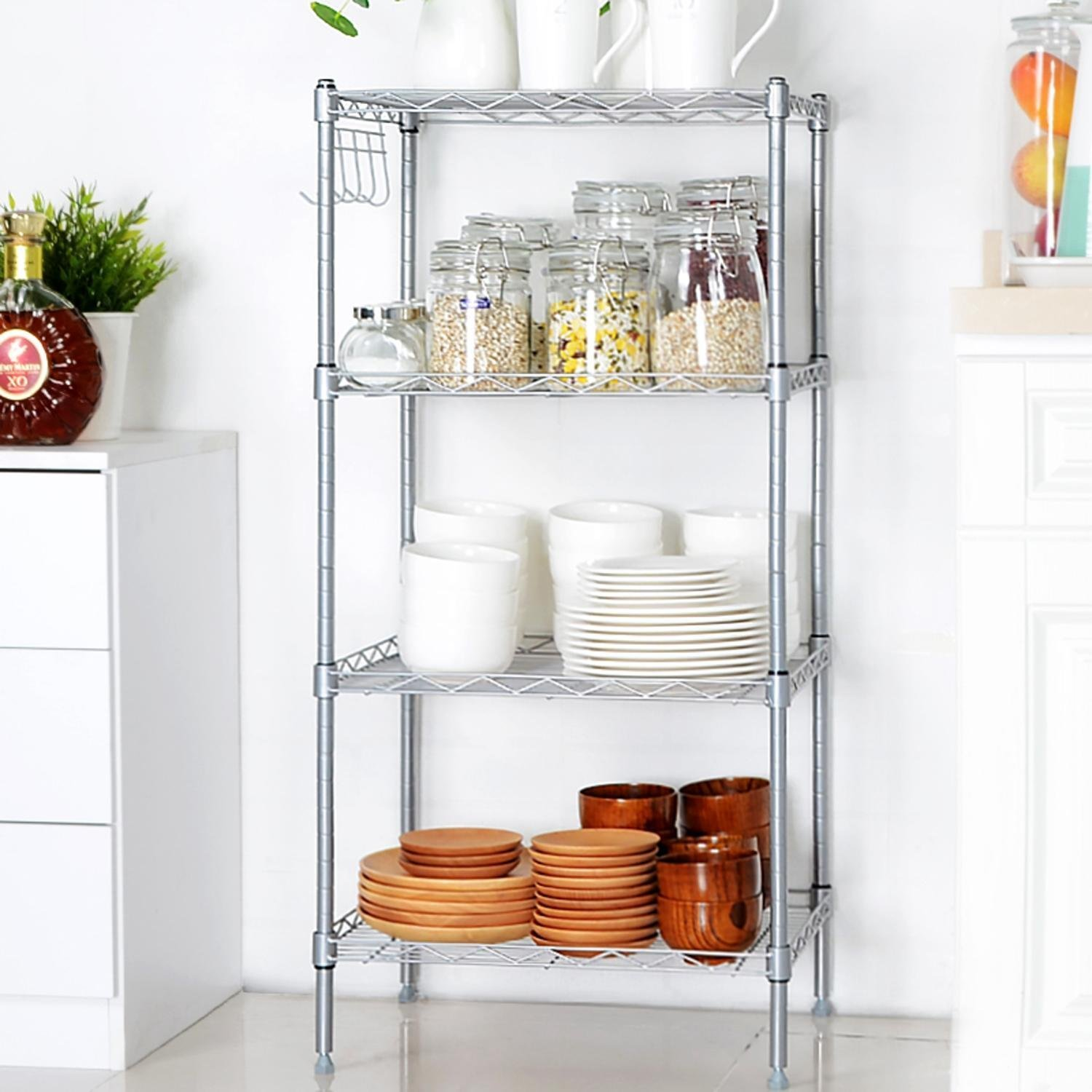 Meharbour 4-Tier Wire Shelving Unit, 4 Shelves Metal Wire Shelving Units Storage Rack for Kitchen Laundry Organization with Adjustable Leveling Feet & Side Hooks (US STOCK) (Silver Gray, 4-Tier)
