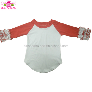 Baby Cotton Shirt 3/4 Sleeve Girls Clothes Ruffle Raglan 3 icing ruffle shirt Raglan Icing girls shirts