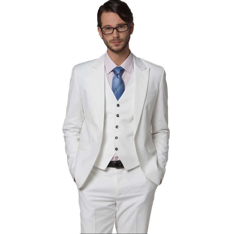 Buy Wholesale Men's clothing slim suit white wedding suits white ...