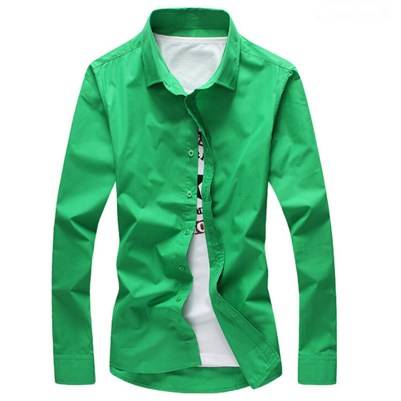2788f75a Get Quotations · Beancan 2018 Men Shirt Long Sleeve Slim Fit Solid Mens  Dress Shirts Formal Shirts Designs Men