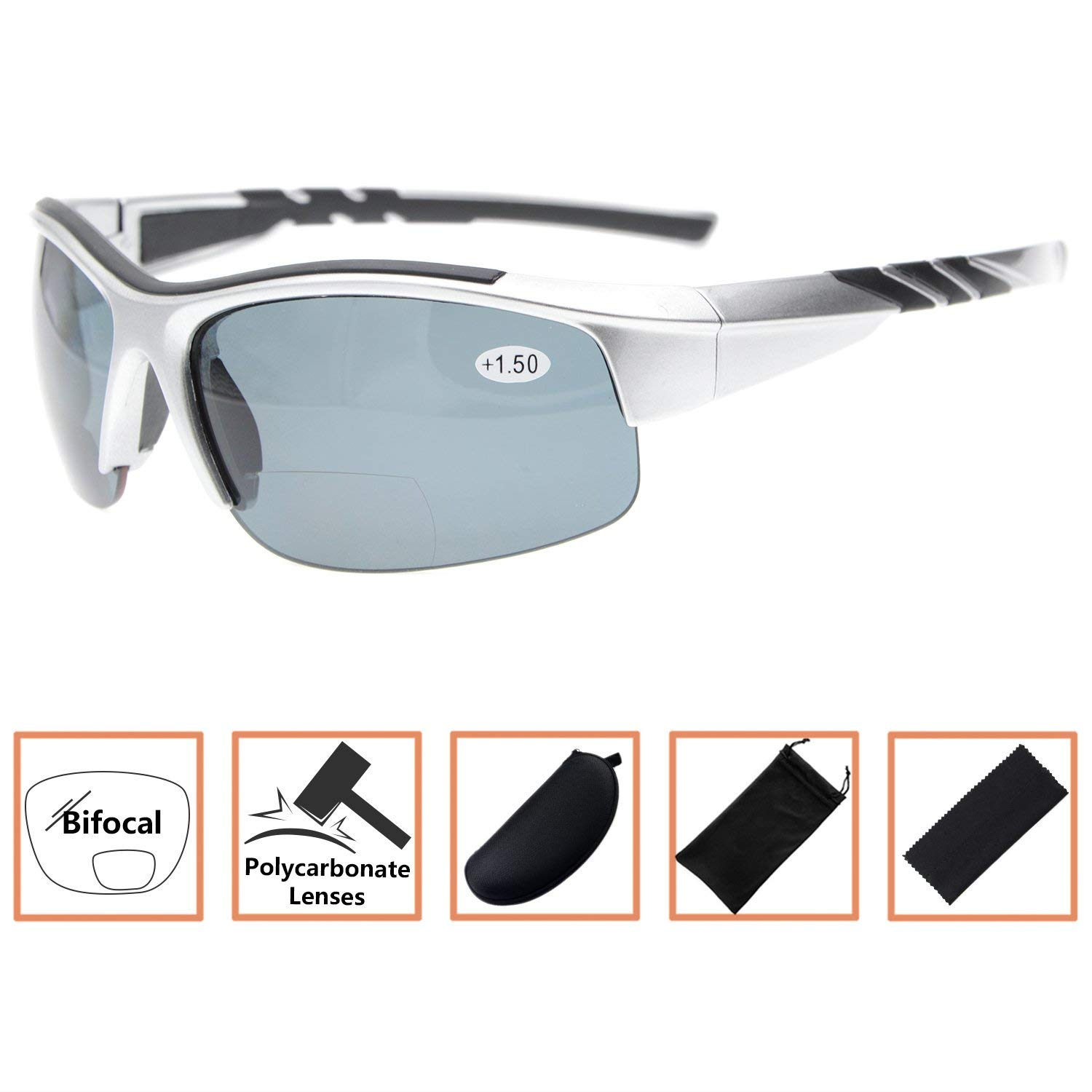 cd860fbf4c7c Get Quotations · Sports Polarized Bifocal Sunglasses Half Rimless Tinted Glasses  Wraparound Designer Style Polarised Sun Readers Silver Frame