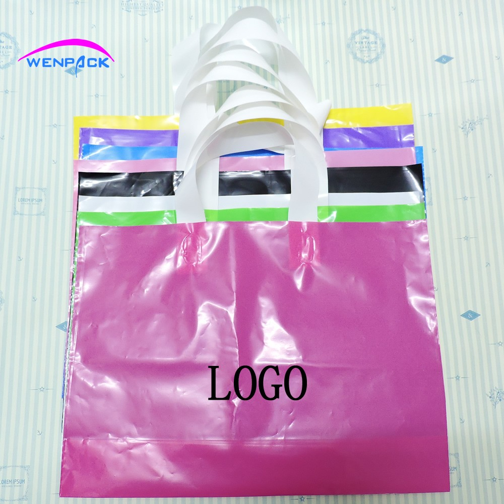 Custom Print Logo Gift Plastic Bag Handle Packaging Bag