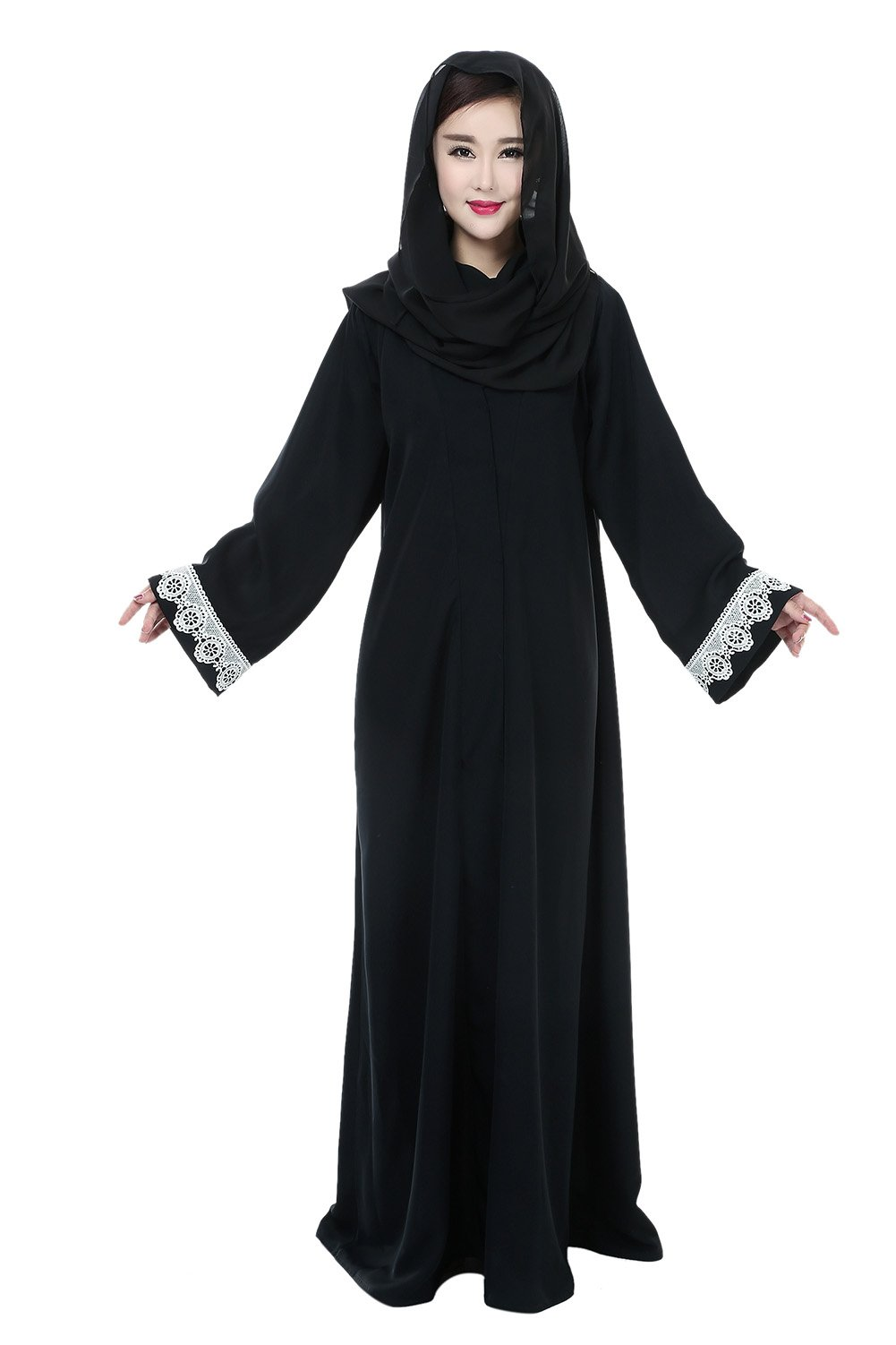 5c99a55ff5 Get Quotations · Women Islamic Wear Lace Patchwork Front Open Abaya Jilbabs