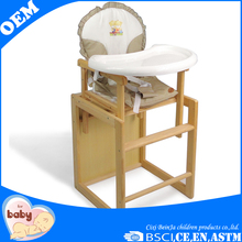 indoor baby dining wooden baby feeding high chair with tray