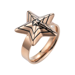 Fashion design star shape stylish party ring in gold plated stainless steel fashion jewelry for girls