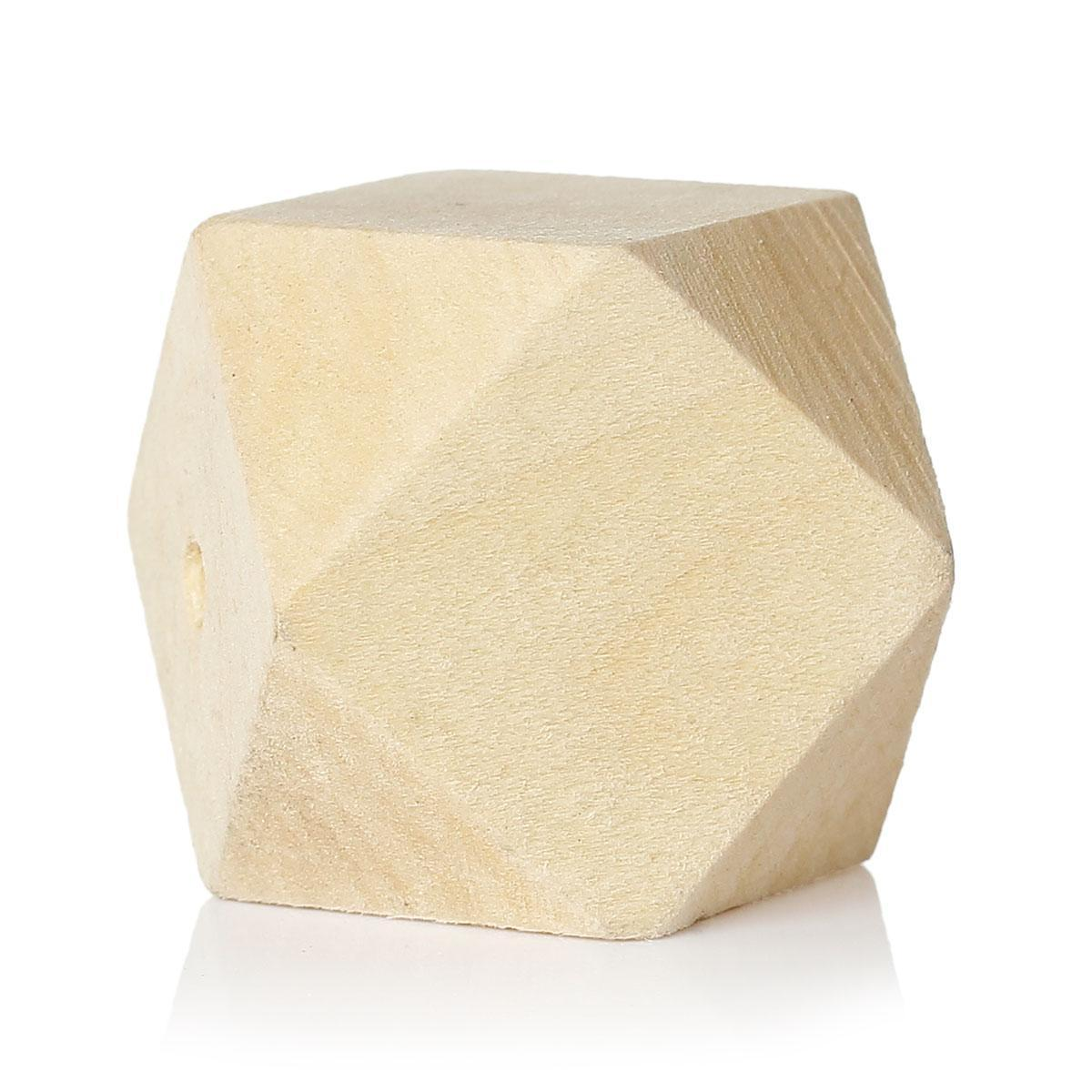 "Free Ship! Wood Spacer Beads Polygon Natural About 3.0cm(1 1/8"") x 3.0cm(1 1/8""), Hole: Approx 4.3mm-4.9mm, 5 PCs FOR APP SALE"