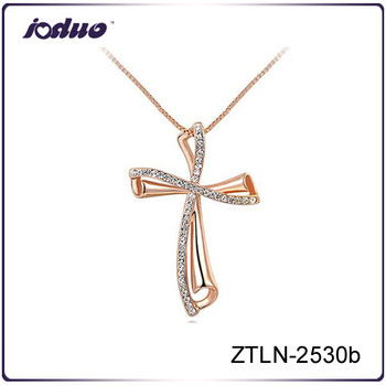 Free Sample Long Chain Type 18KGP Cross Pendant Necklace