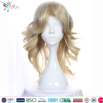 Hot Selling New Fashion Womens Anime Long Blonde Wavy Curly Wig Hair Cosplay wig
