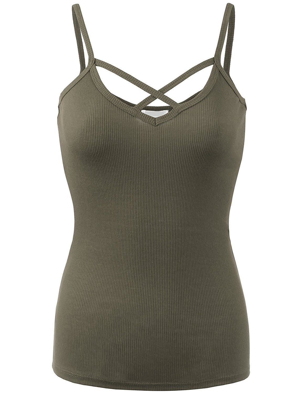 BABY-QQ Comfortable Womens Solid Ribbed Crisscross Cami Top-M-MILITARY Doubldowt469_militaryMedium