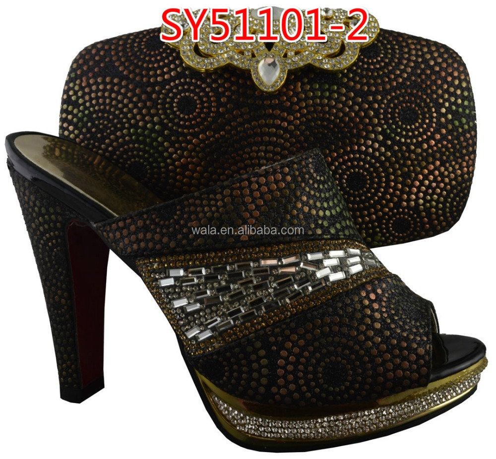 7067ed1397702 italian party shoes and bag set matching SY51101-2 black shoes and bag set  rhinestones shoes and bag