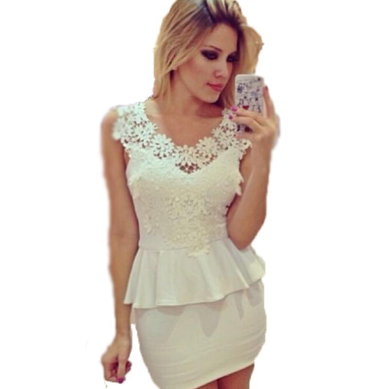 85ffe4bd4b95 Get Quotations · White Party Dresses Plus Size 2015 New Arrival Summer Style  Lace Dress Sleeveless Package Hip Hollow