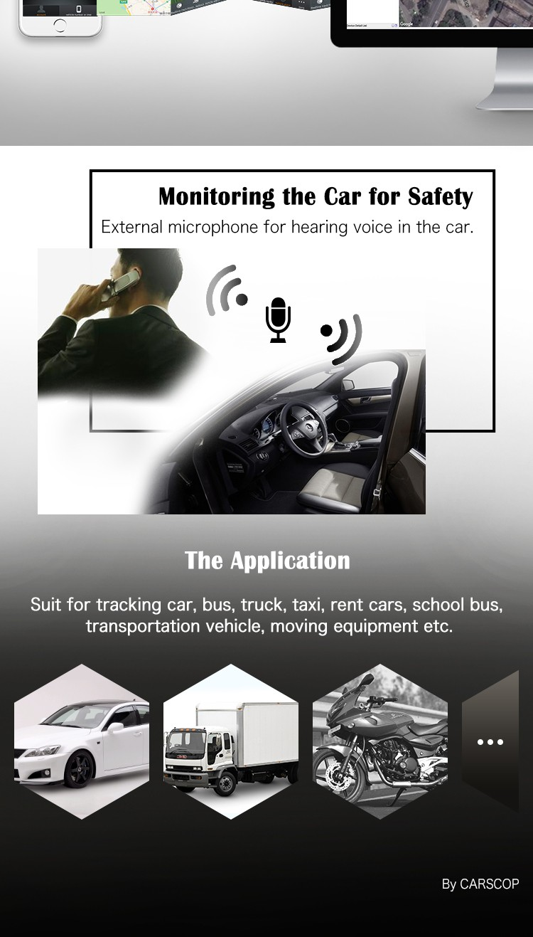 3G External Microphone Gps Car Tracker With Sms Remote Engine Stop