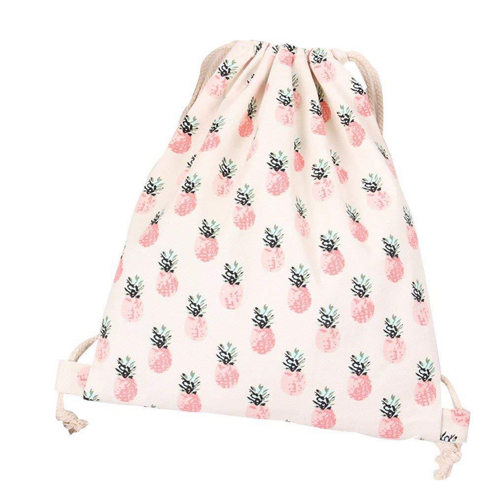 Women Pink Pineapple Drawstring Bag Beam Port Backpack Canvas Shopping Travel Bag Bafaretk (WHITE)