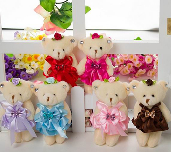 4b691cfa6f1 wholesale 5 quot  plush stuffed soft cute custom cheap craft plush jointed teddy  bears keyring for