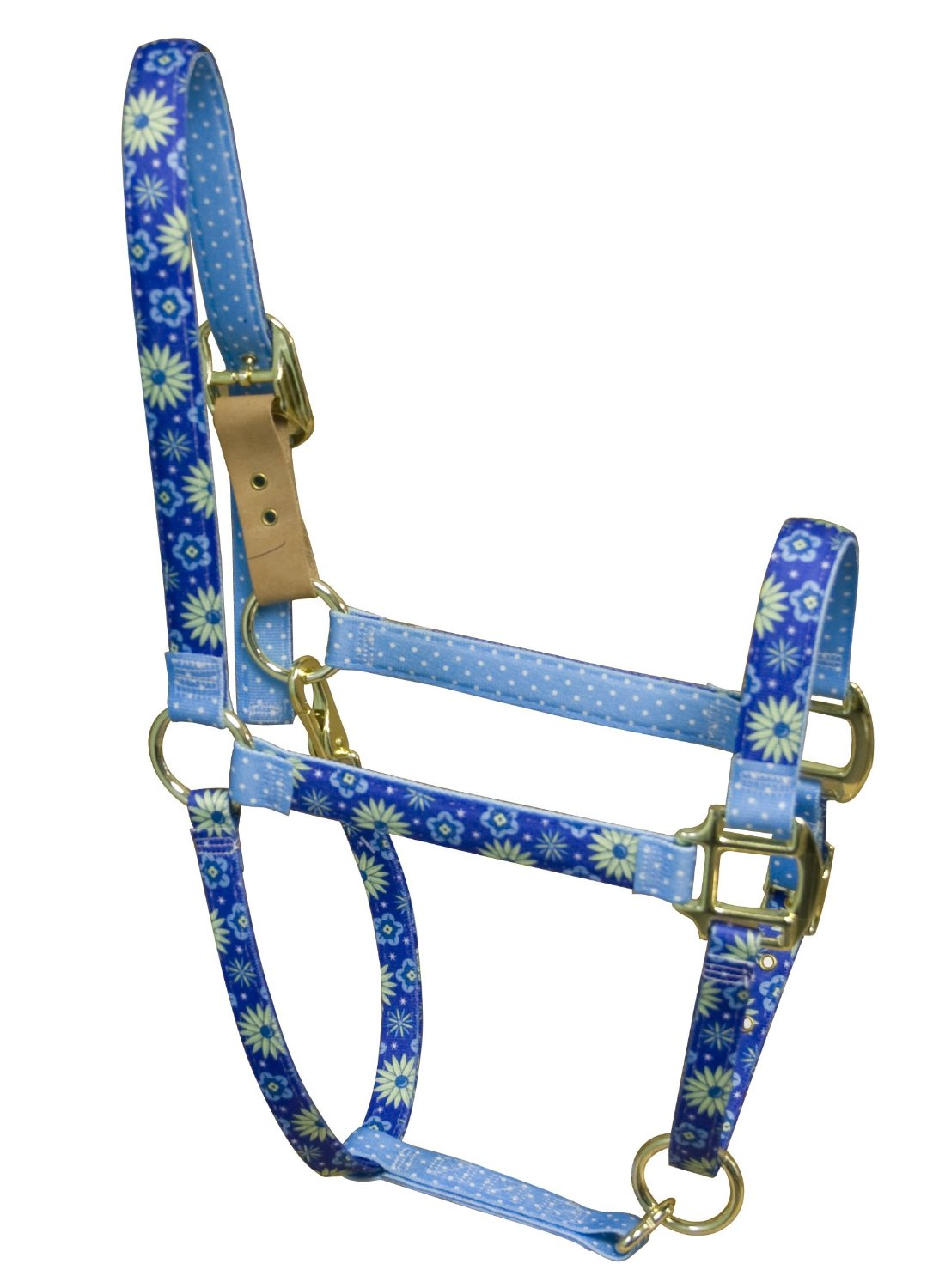 Red Haute Horse TEF1203 A High Fashion Horse Horse Halter, Teal Flowers