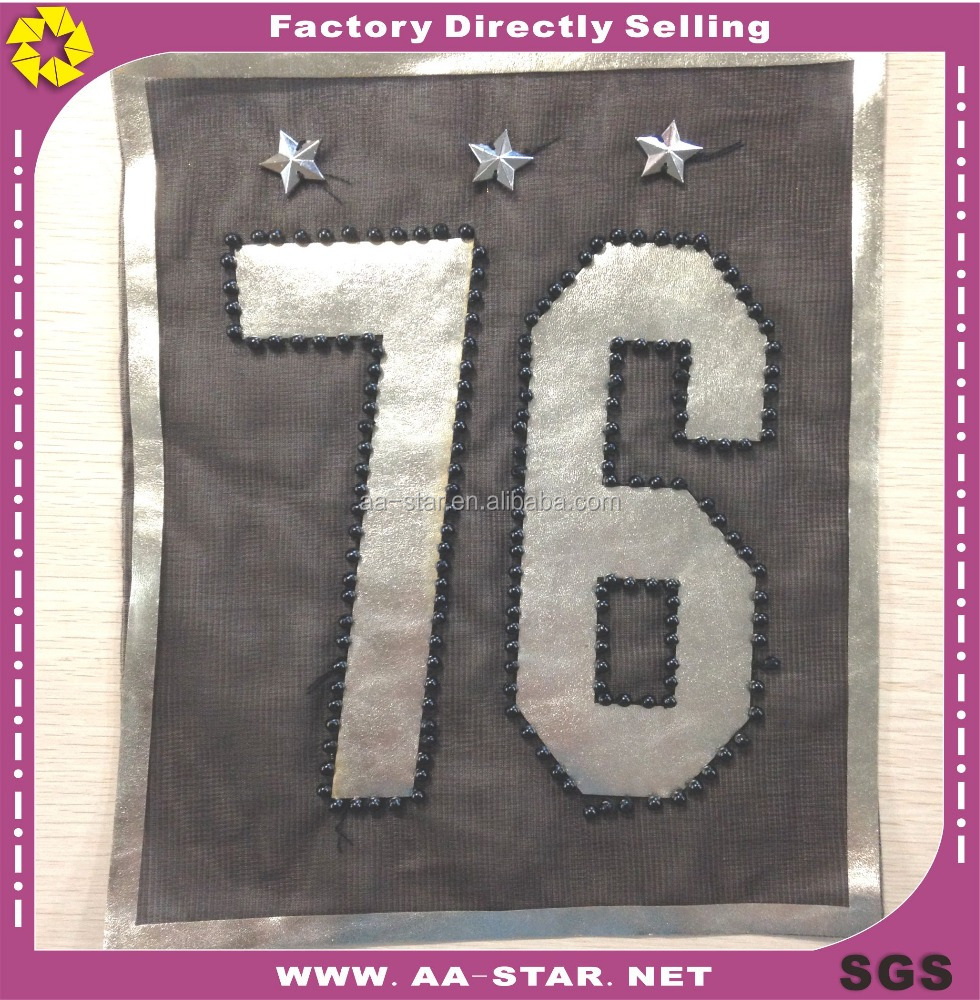 Hot selling digit design 24X30.5cm leather decorative clothing patches in bulk
