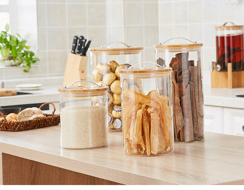 High Quality Borosilicate Glass Jar With Bamboo Lid 304 Stainless Steel Handle