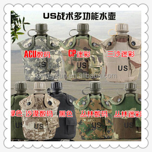 US Military Cup Hiking Camping Kettle Outdoor Aluminum Canteen Water Bottle Nylon Canteen Cover-Desert Camouflage