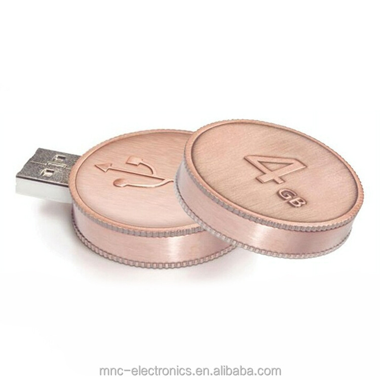Personalized laser engraving logo metal material round coin shape usb flash drive memory stick