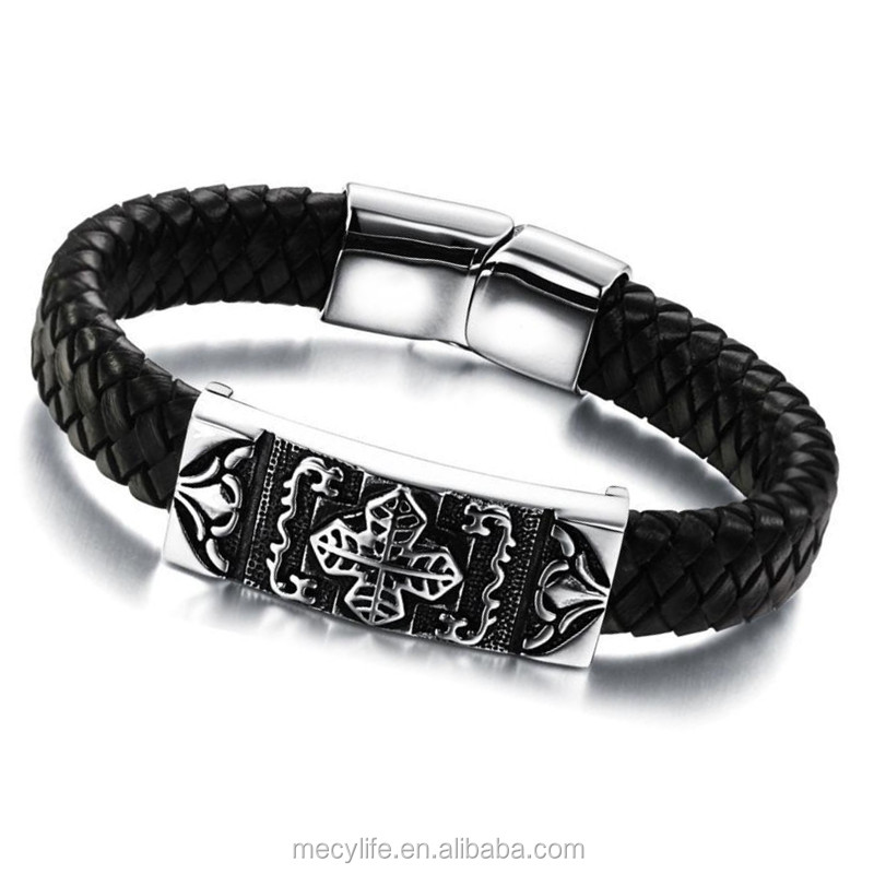 MECYLIFE wholesale high quality leather cross bracelets titanium steel cameo bracelet