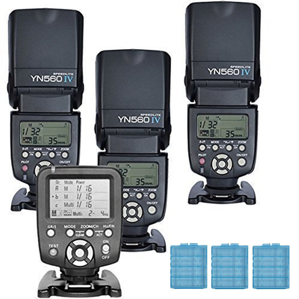 3x YN560 IV +1x560TX +3x Gift Battery Case YONGNUO YN-560IV Wireless Flash Speedlite and YN560-TX LCD Flash Trigger Remote Controller for Canon cameras and YN560-III With Wake-up function