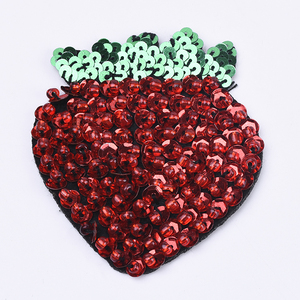 Yongze strawberry custom sequin china embroidery 3d patches iron on
