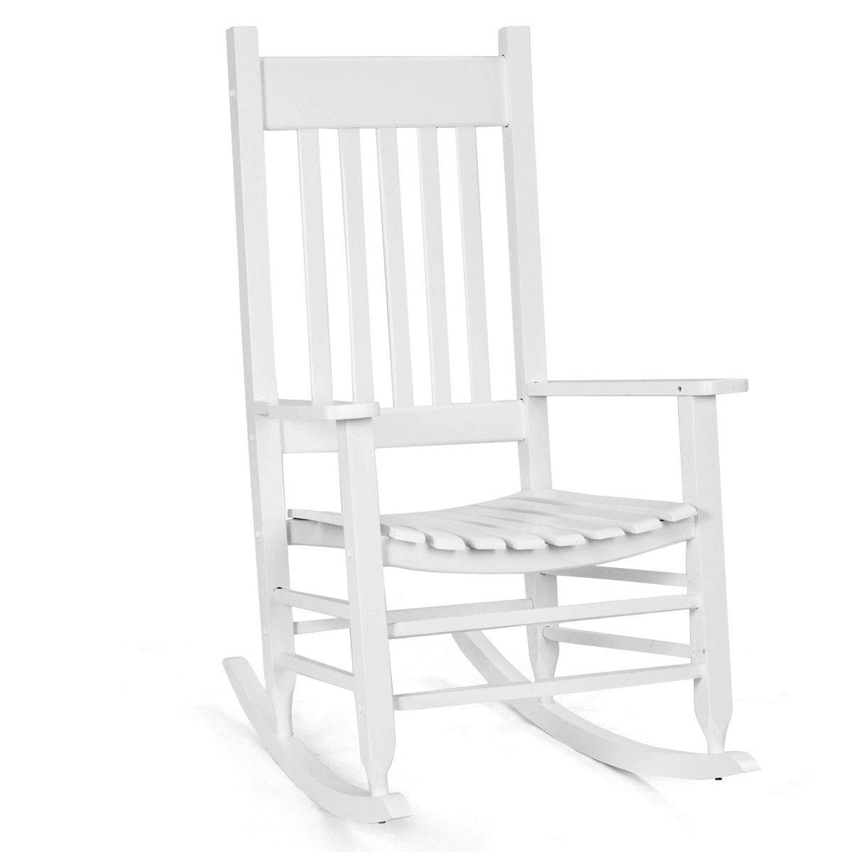Picture of: Solid Wood Rocking Chair Porch Rocker Indoor Outdoor Deck Patio Backyard Red