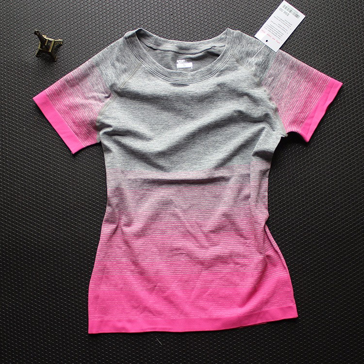 Gradually Changing Color Quick Dry And Anti-wrinkle Yoga Workout Clothes Yoga Apparel T Shirt 18