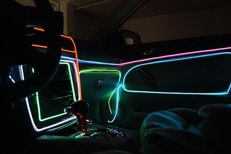 Ar lights interior lights colorful flexible el wire - Battery operated car interior lights ...