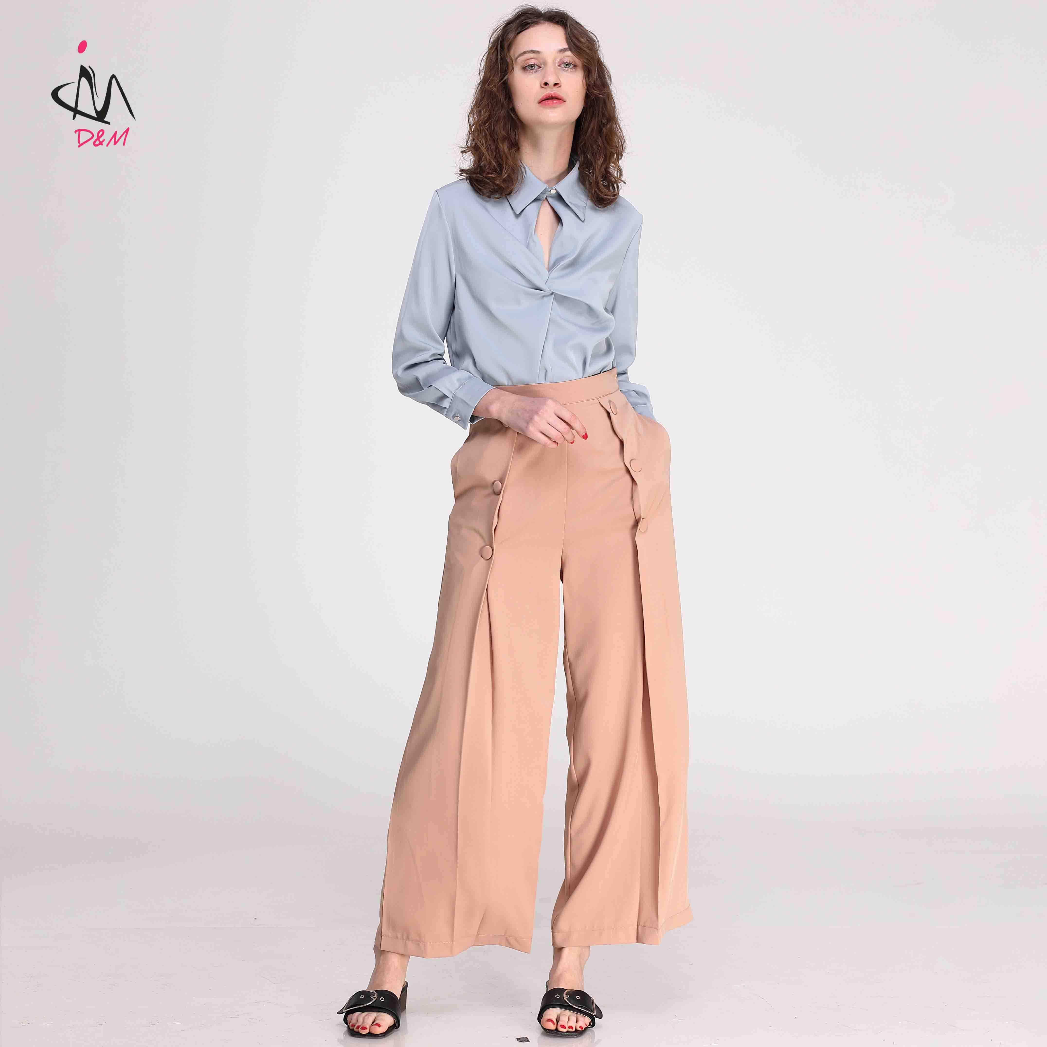 Ultimo Pantalones De Diseno Para Damas De Botones De Tela Pantalones De Las Mujeres Buy Trousers Women Women S Trousers Pants Wide Leg Pants Product On Alibaba Com