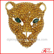 Hot Sale Yellow Leopard Head Diamond Brooch