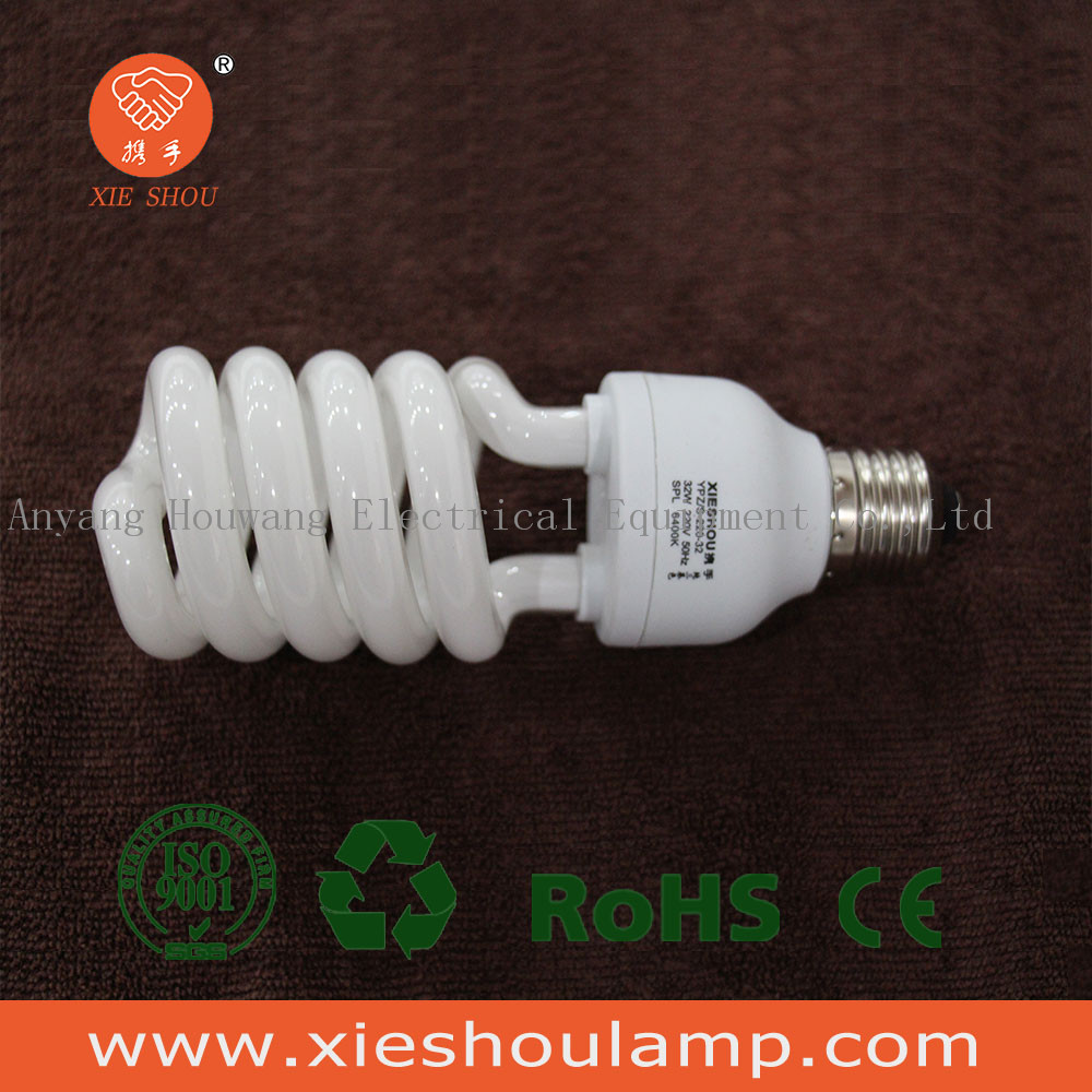 Top Sales Half Spiral Fluorescent Energy Saving Lamp 21W 6400K Tri-Color CFL